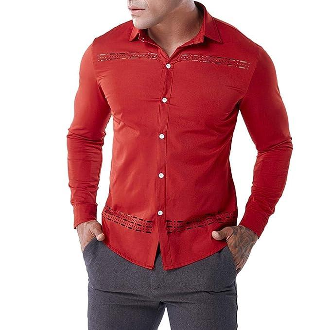 0623140568666 Camisas Hombre Moda ❤️AIMEE7 Camisa Roja Hombre Camisa Hueca De Hombre