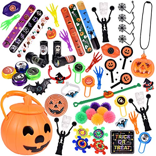 60 PCs Halloween Party Favors For Kids, Novelty Bulk Toys Assortment for Halloween Treats and Prizes, Goodie Bag Fillers