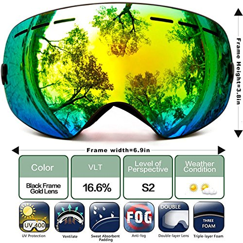 JapanX - Ski Goggles Snow Goggles for Snowboard Snowmobile,Interchangeable Lens Magnetic Detachable Foam,UV400 Protection Anti-fog Design OTG Snow Goggles for Men Women (C4 BLACK - Ski Cebe Goggles Otg