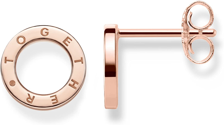 Thomas Sabo - Pendientes de botón de Mujer, Plata de Ley 925, Dorado