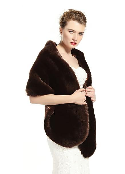 1a396ced54ab7 Faux Fur Wrap Shawl Stole Women s Bridal Long Shrug Cape for Wedding Dress  Winter Brown