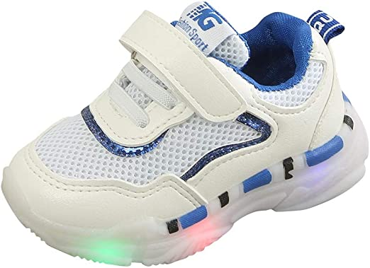 Toddler Boys Girls Led Shoes Light Up Shoes for 1-6 Years Old Children Letter Mesh Slip-on Socks Casual Shoes
