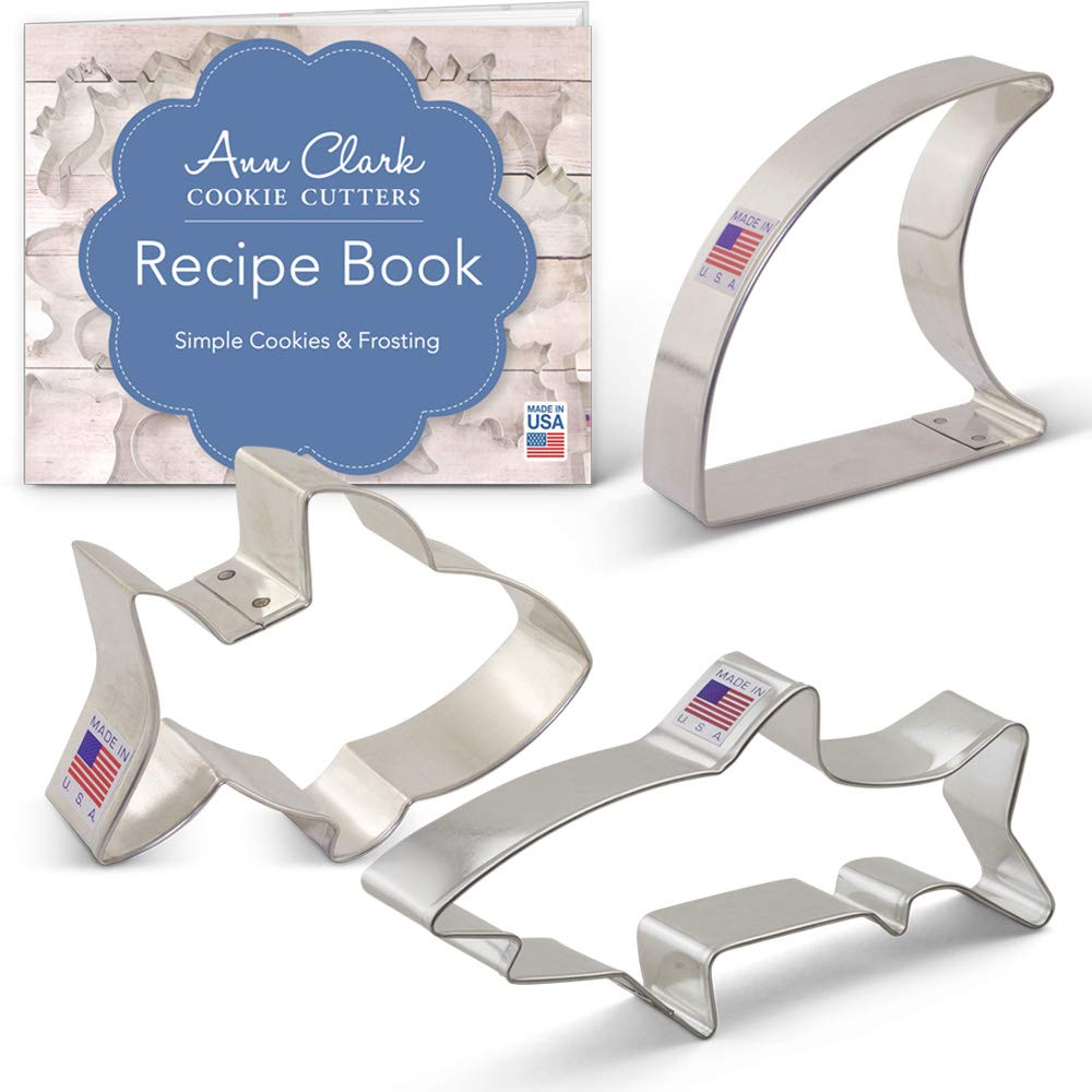 Ann Clark Cookie Cutters 3-Piece Shark Cookie Cutter Set with Recipe Booklet, Baby Shark, Shark Fin, Shark