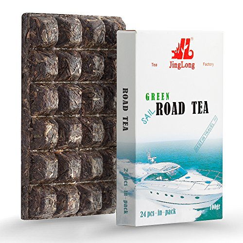 Road Green Puerh Tea - Special edition for travelers - Aged Puerh Tea Brick divided in 24 squares (48 cups) - Raw Puerh Tea - Aged Yunnan Tea travel design - Shen Puer Green Tea - 3.6 ounce/100g