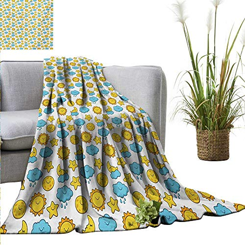 """Price comparison product image Couch Blanket Baby, Sleepy Morning and Night for Kids Boys Girls Moon Rainy Clouds Stars Sun, Earth Yellow Sky Blue Warm & Hypoallergenic Washable Couch / Bed Throws Microfiber 60""""x63"""""""