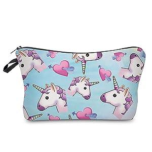 Flybloom Cosmestic Bag Unicorn Pattern Multifunctional Hand Bag Makeup Bag for Women Girls