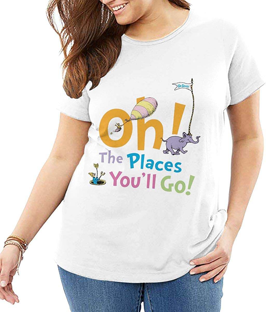 Womens Summer Classic-Fit Short-Sleeve Big Size Tees White GACIN Oh The Places Youll Go