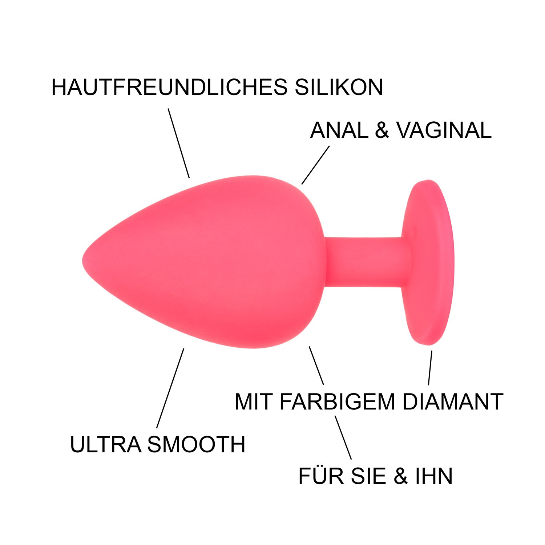provocaTOY Analplug Set Sexspielzeug aus Silikon für Männer, Frauen & Paare – pink, lila oder schwarz in klein, mittel, groß - inkl. gratis Gleitgel