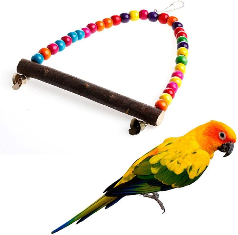 NNDA CO Wood Swing Bird Toy Parrot Cage Toys Finch Parakeet Cockatiel Lovebird Budgie,Wood,1pc