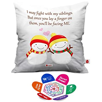 Quote Printed White Cushion Cover 12X12 With Filler