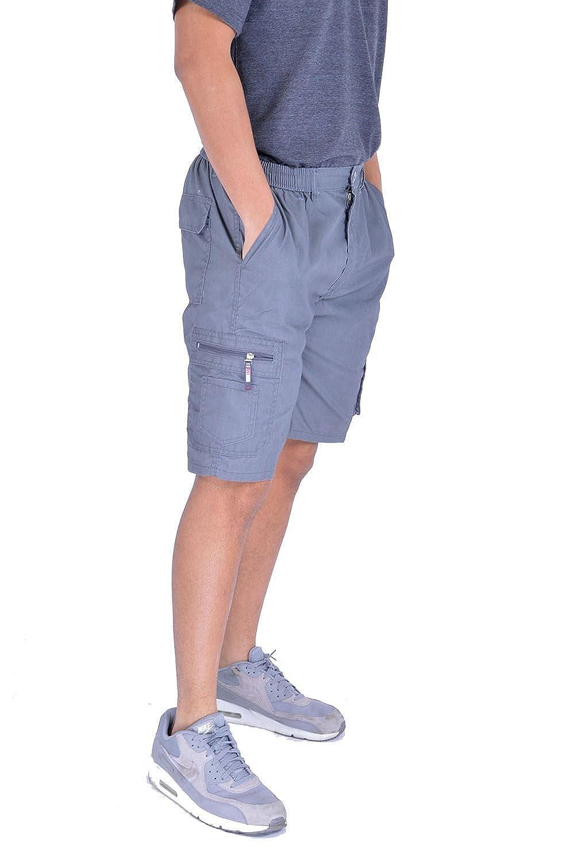 0d148104c MyMixTrendz hombres Pantalones cortos de bolsillo lisos con bolsillo de  carga ligera o5IvDDD