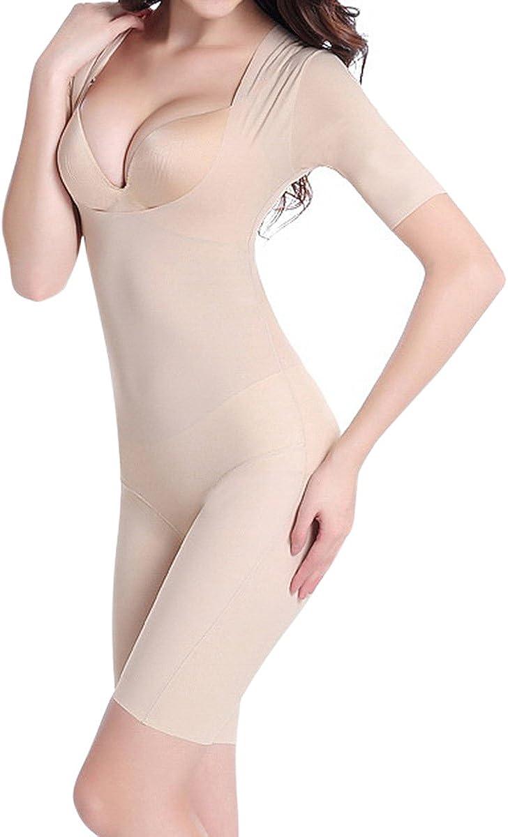 Shymay Womens Mid Thigh Bodysuit Tummy Control Waist Slimming Full Body Girdle