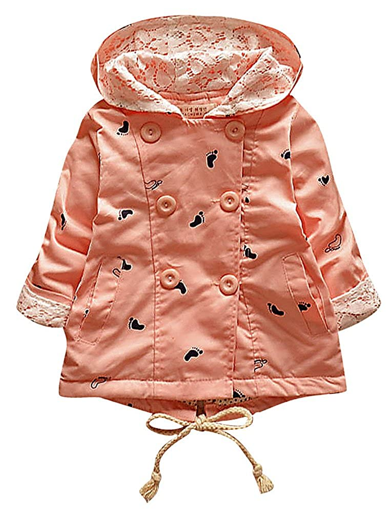 Sweety Girls Footprint Motif Double Breasted Lace Detail Hooded Cotton Coat
