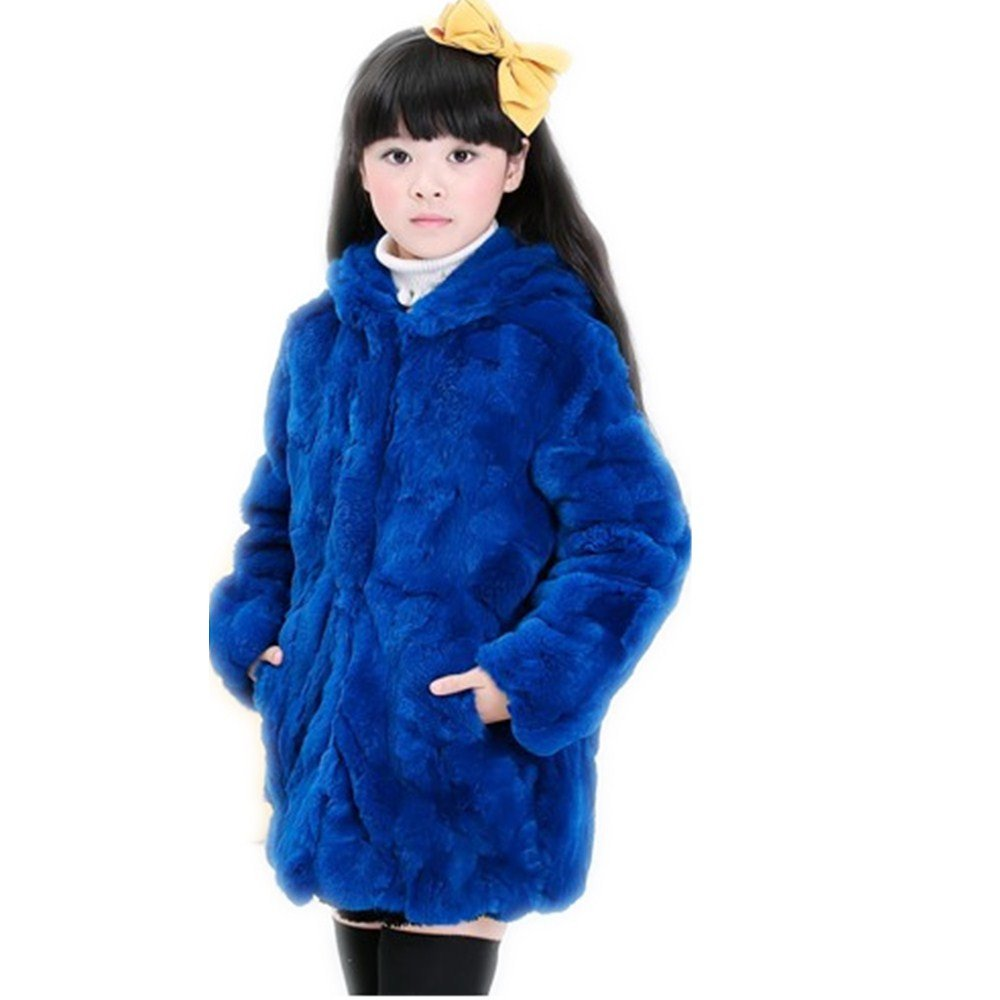 qmfur Girls Big Kids Short Real Rabbit Fur Coat Hooded Jacket Peacoat (150 Size, Blue)