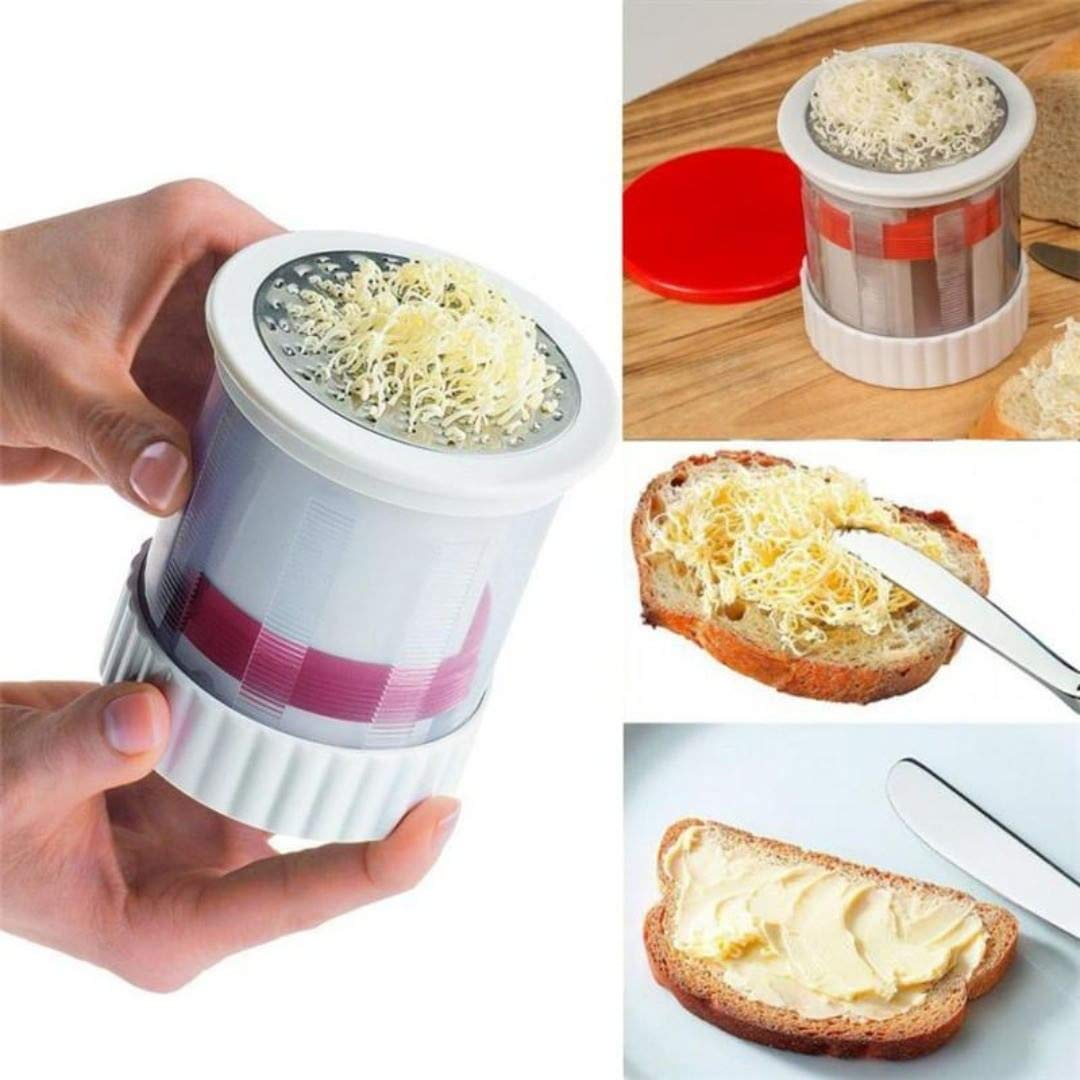 SUORONG Mill Shredded Butter Spreads/Melts More Easily-Smooth Spreadable Bread Veggies Corn Grater Cheese Slicer, Red+White Butter Mill Grater