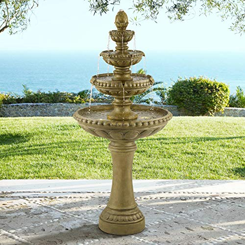Outdoor Italian - John Timberland Sag Harbor Italian Outdoor Floor Water Fountain with Light LED 66