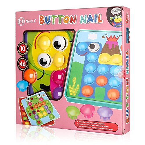 NextX Button Art Toy Color Matching Mosaic Pegboard Early Learning Educational Preschool Games for Kids' Motor Skills (Pink) by NextX (Image #7)