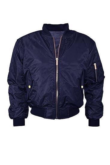 New Ladies Womens Bomber Jacket Vintage MA1 Classic Style Zip Up Biker Coat