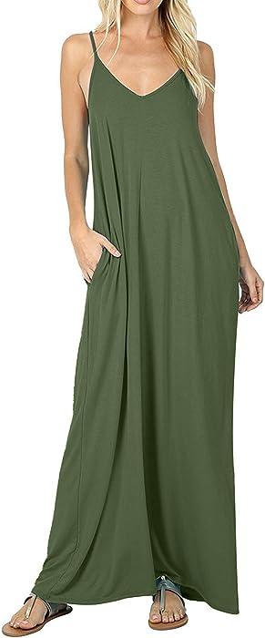 c679c54ef5ea StyleDome Women's Summer Casual Plain V-Neck Flowy Loose Beach Cami Dress  Pockets Sundress Army