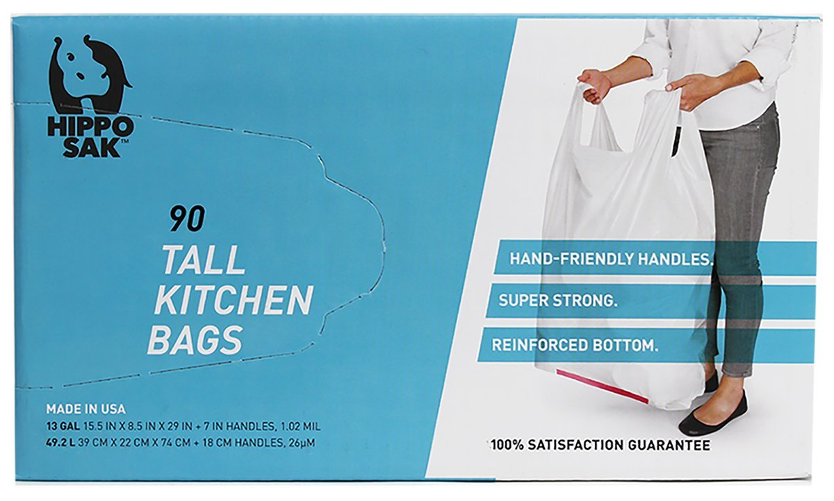 Hippo Sak Handle Trash Bag, with Power Strip, 13 gallon Tall Kitchen, 90 Count