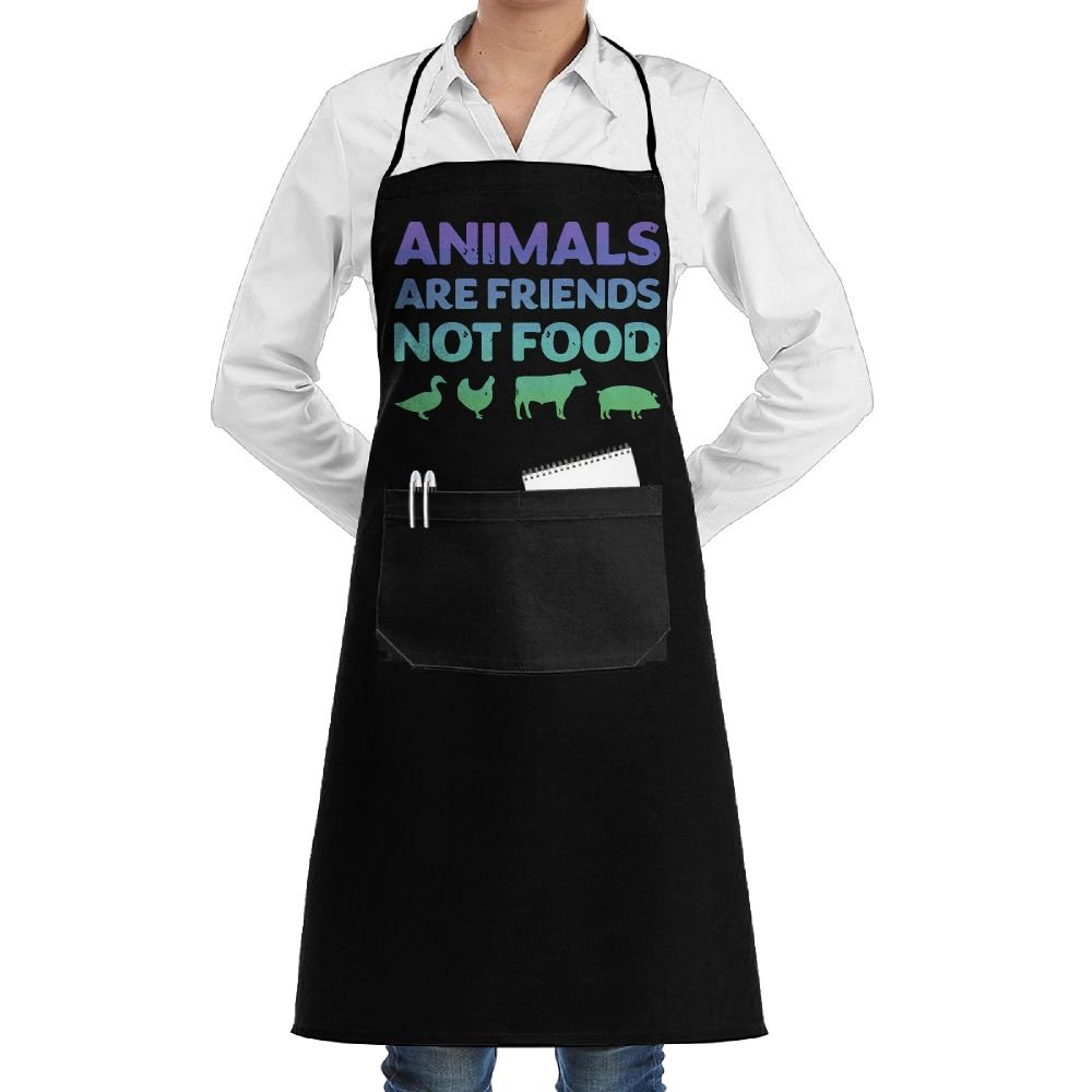 ShoppingNowDear Unisex Long Aprons Animals Are Friends Not Food Vegans Vegetarian Manicure Store Sleeveless Anti-Fouling Overalls Portable Pocket Design