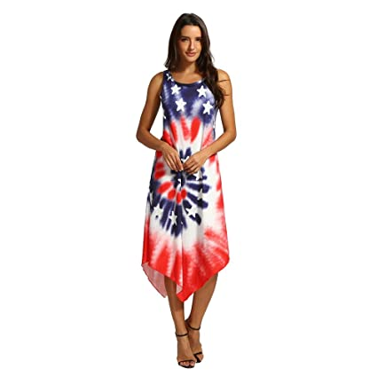 4dc79cdcd9 Independence Day Dress Women Sleeveless Tank Dress Floral Print Stripes Tie  Dyeing 4th of July Patriotic