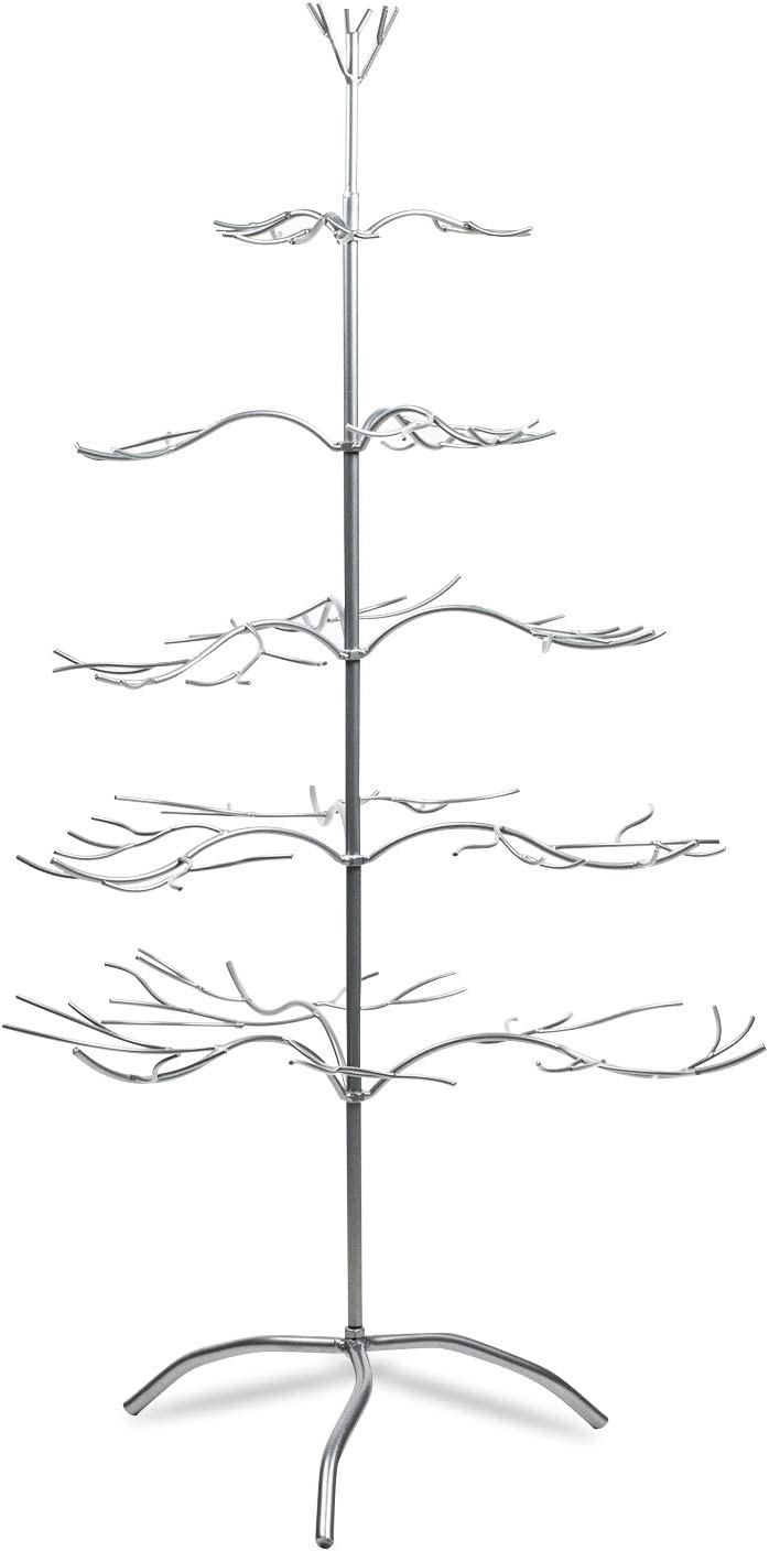 """Tripar Metal Ornament Display Tree and Jewelry Organizer – 36"""" Wire Ornament Stand and Necklace Holder Décor with 5 Tiers of Branches, Perfect for Wrought Iron Trees Silver"""