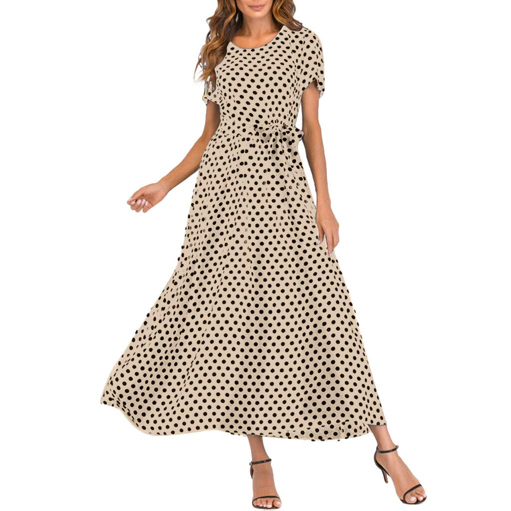 Yicolo Polka Dot Lace Up Waist Strap Dresses for Women, Crew Neck Short Sleeve Casual Midi Dress (Khaki, M)