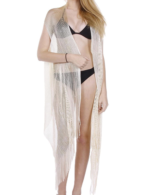 Parisian Chic Scarf Metallic Yarn Mesh Vest Fringe One Size Gold