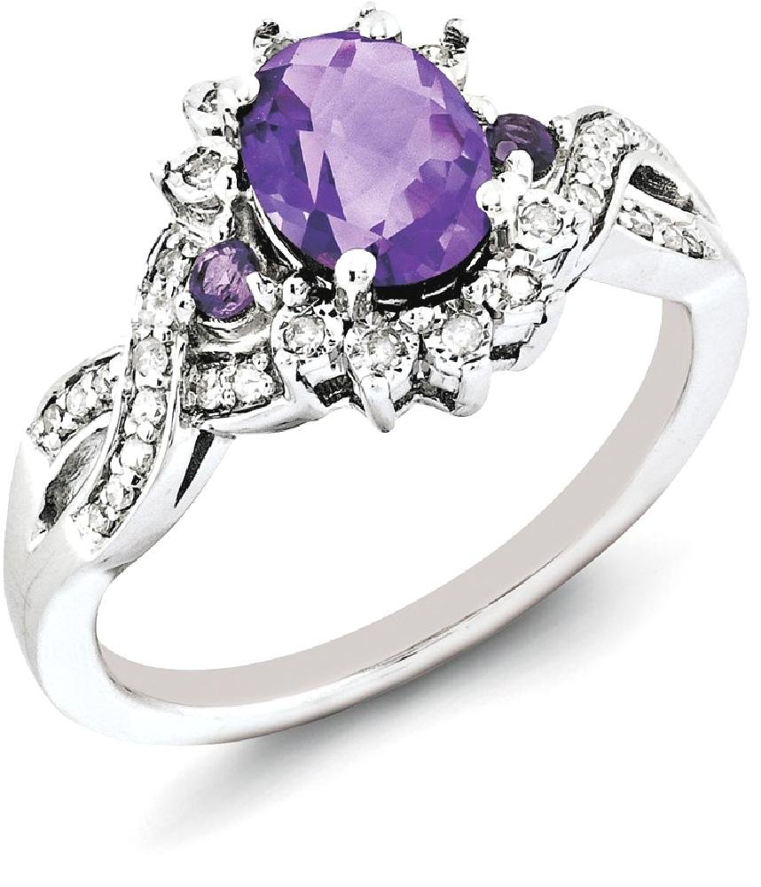 IceCarats 925 Sterling Silver Diamond Purple Amethyst Band Ring Size 6.00 Stone Gemstone