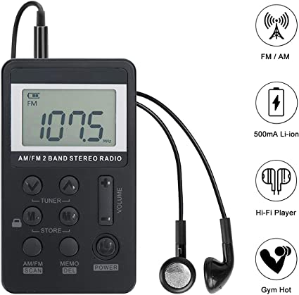 Mini Portable Pocket FM//AM 2 Band Radio Receiver Rechargeable Battery w//Earphone