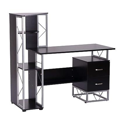Black Home Office Style Computer Desk Bookshelf 2 Large Storage Drawer Open Split Levels Shelves