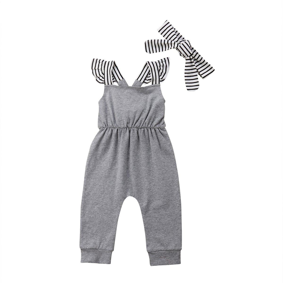 Infant Baby Girl Summer Rainbow Stripe One Piece Romper Bodysuit Clothes Set (Koala, 9-18 Months)