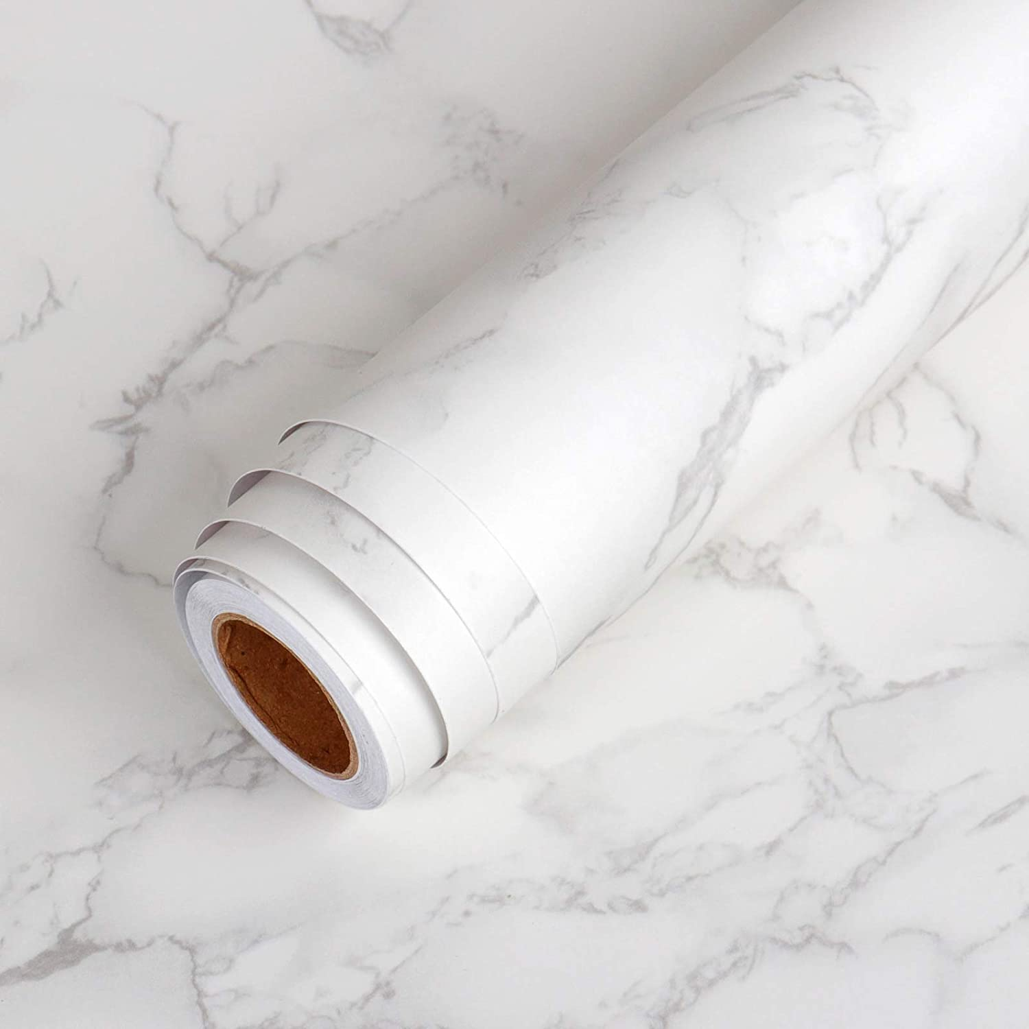 """LaCheery Extra Wide 36""""x160"""" Matte Grey White Marble Contact Paper Wallpaper Stick and Peel Marble Countertop Contact Paper Decorative Self Adhesive Wall Paper Roll for Kitchen Island Table Furniture"""