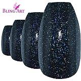 Bling Art Ballerina False Nails Fake Coffin Gel Black Acrylic Long 24 Tips Glue
