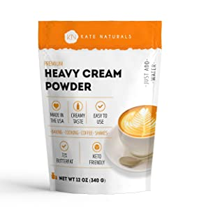 Premium Heavy Cream Powder for Whipping Cream, Sour Cream, Butter, and Coffee. Keto Friendly and Gluten Free (12oz)