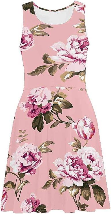 XS-3XL InterestPrint Womens Casual Sundresses Skull Pink Rose Sleeveless Scoop Neck Dresses