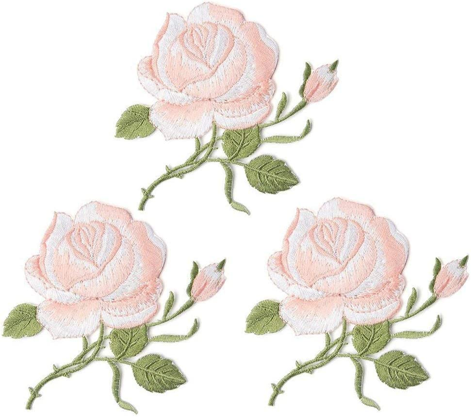 Pink Flower Embroidery Patches Custom Backpack Patches for Women Flower Patches,Sew On Applique Patch Kids Iron On Patches Girls 2 Pack Delicate Embroidered Patches