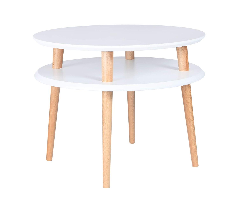 Ragaba UFO Weiß runder Couchtisch Kaffetisch Beistelltisch - Holzbeine, Doppeltischplatte, Skandinavisch Holztisch für Wohnzimmer Schlafzimmer - 57 x 57 x 45cm
