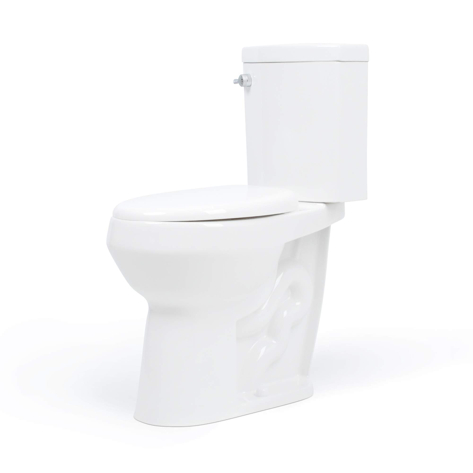 20 inch Extra Tall Toilet. Bowl Taller than ADA or Comfort Height. Elongated Slow-Close Seat. Dual Flush with New Chrome Handle
