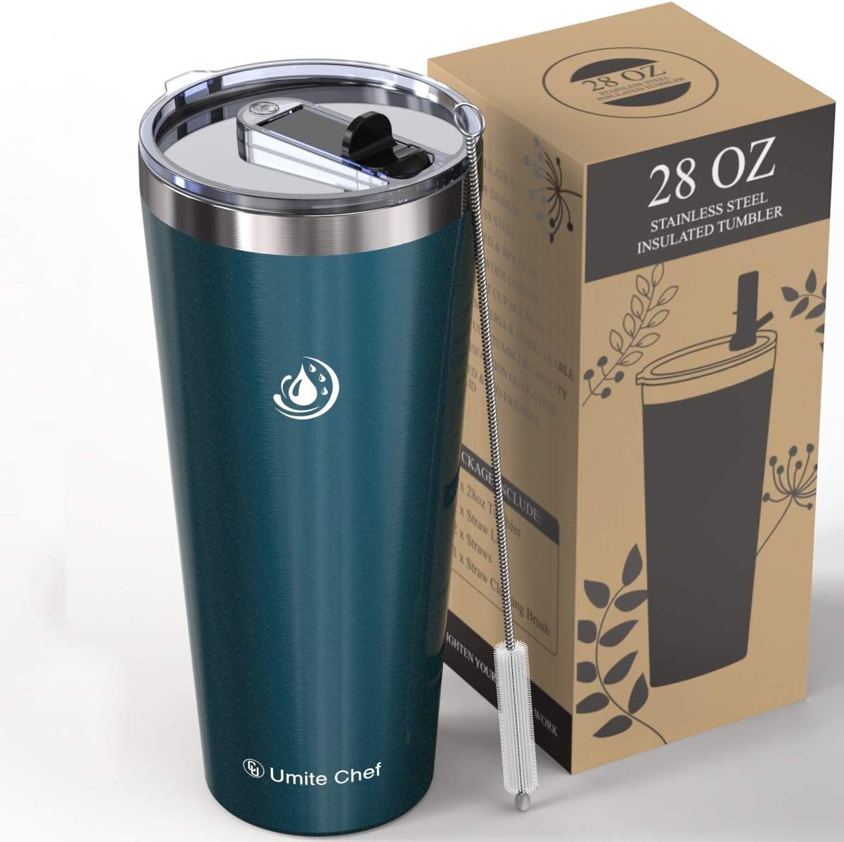 Umite Chef 28oz Tumbler Double Wall Stainless Steel Vacuum Travel Mug Tumbler with Lid, Insulated Coffee Mug Cup, 2 Straws, for Home, Outdoor, Office, School,(Blue Green)