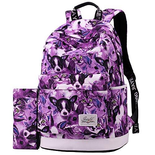 Mocha weir JIAYBL Portable Sac à dos Université épaules Sacs école Enfants Livre Sacs filles Toile Voyage Sac à dos (gris) violet