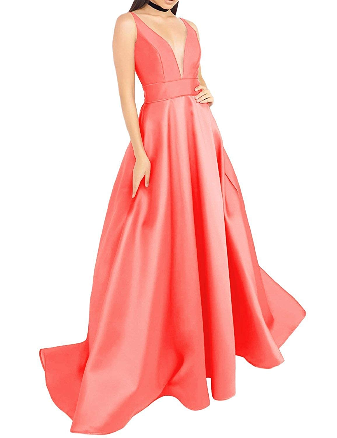 Coral luolandi Women's V Neck Prom Dresses A Line Satin Long Evening Formal Gowns with Pockets