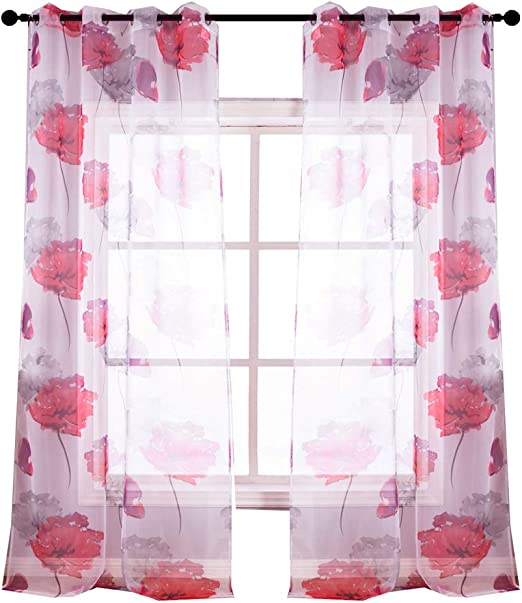 Amazon Com Kotile Contemporary Botanik Floral Style Girls Room Semi Sheer Curtains 2 Panels 63 Inch Long Grommet With Red Floral Print Design 52 X 63 Inch Home Kitchen