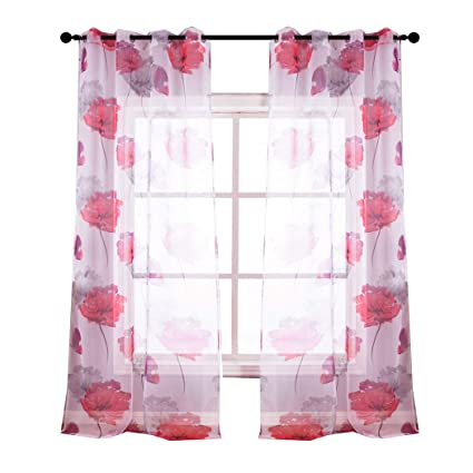 Kotile Bedroom Colorful Floral Semi Sheer Curtains With Floral Design Printing 2 Panels Eyelet Light Filtering Short Red Window Drapes For Living