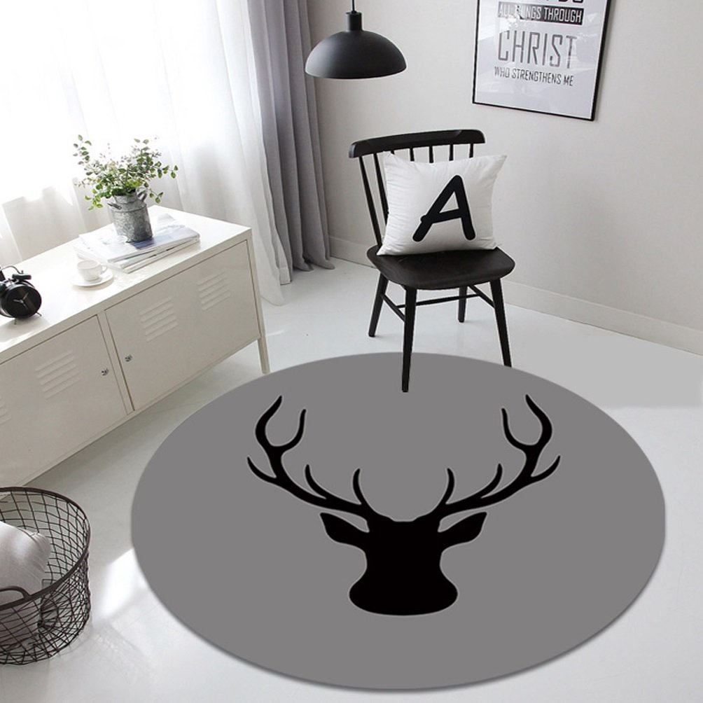 Rug WAN SAN QIAN- Creative Round Living Room Carpet Fashion Round Carpet Home Carpet Bedside Blanket Carpet Bedroom Animal (Size : 80x80cm)