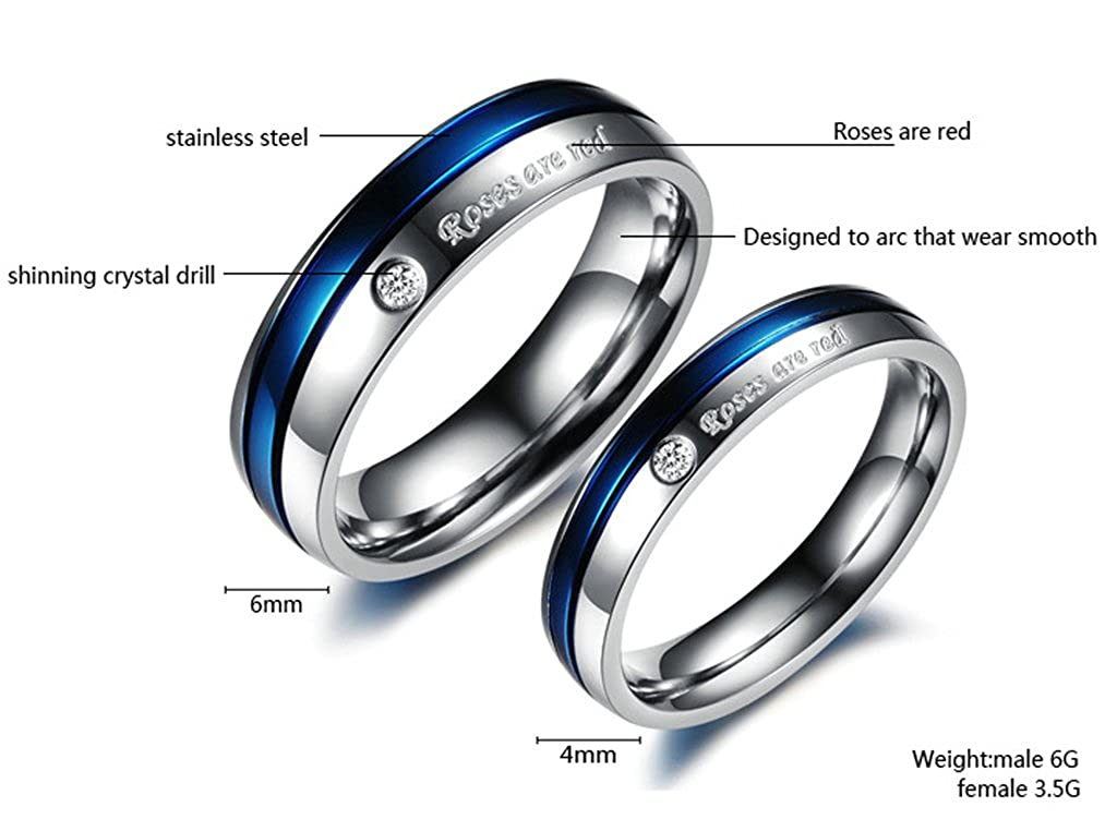 Bishilin 2Pcs Stainless Steel Couple Wedding Ring Set Him and Her Blue and Silver Tone with Zirconia Women Size 5 /& Men Size 10