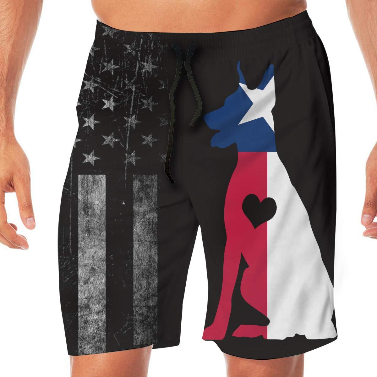 Mens Texas Flag Adore Dobermans Dog Board Shorts Swimming Shorts No Mesh Lining