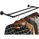 OROPY Industrial Pipe Double Rail Garment Rack, Wall Mounted Clothes Rod for Clothing Storage, Black Color, 35…