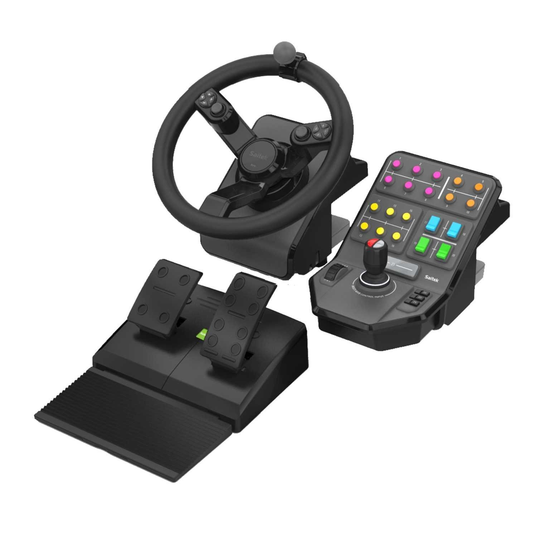 Logitech G Saitek Farm Sim Kit Controller per Giochi Farming Simulator Composto da Volante, Pedale e Pannello Controllo